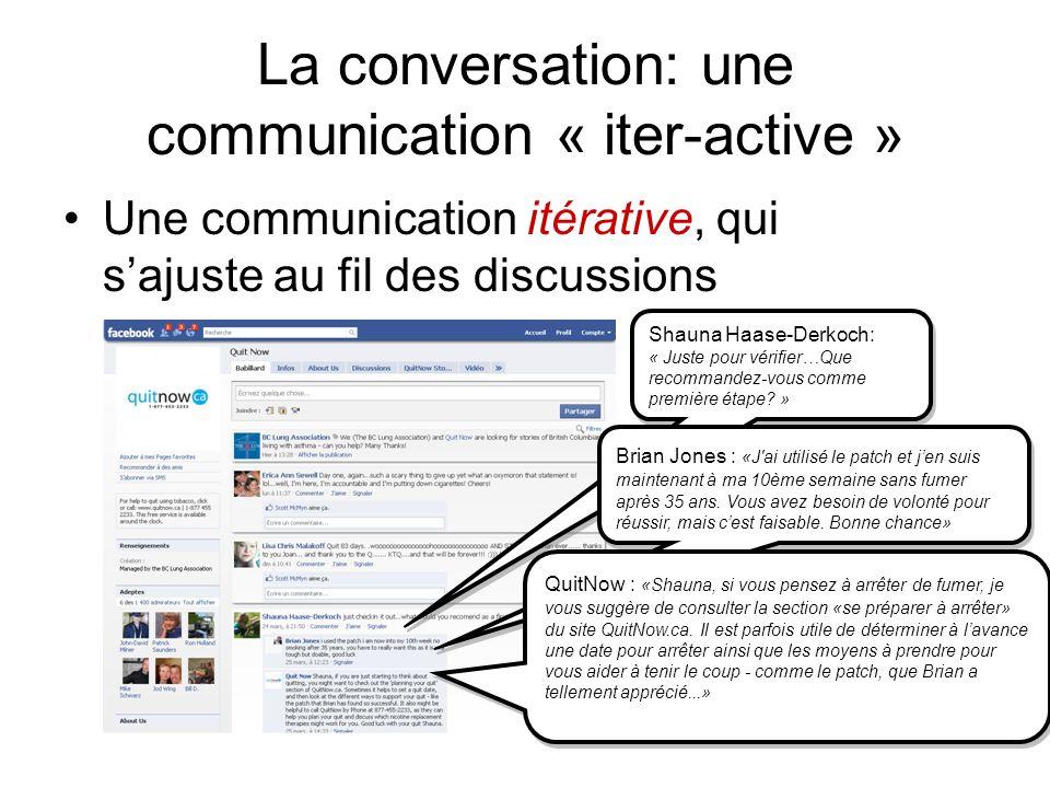 Une communication itérative, qui sajuste au fil des discussions Shauna Haase-Derkoch: « Juste pour vérifier…Que recommandez-vous comme première étape.