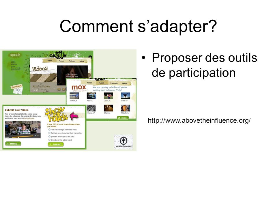 Comment sadapter? Proposer des outils de participation http://www.abovetheinfluence.org/