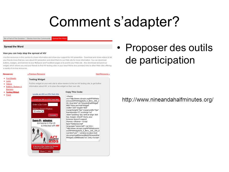 Comment sadapter Proposer des outils de participation http://www.nineandahalfminutes.org/