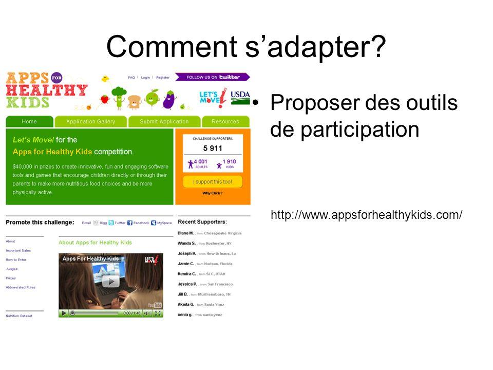 Comment sadapter Proposer des outils de participation http://www.appsforhealthykids.com/