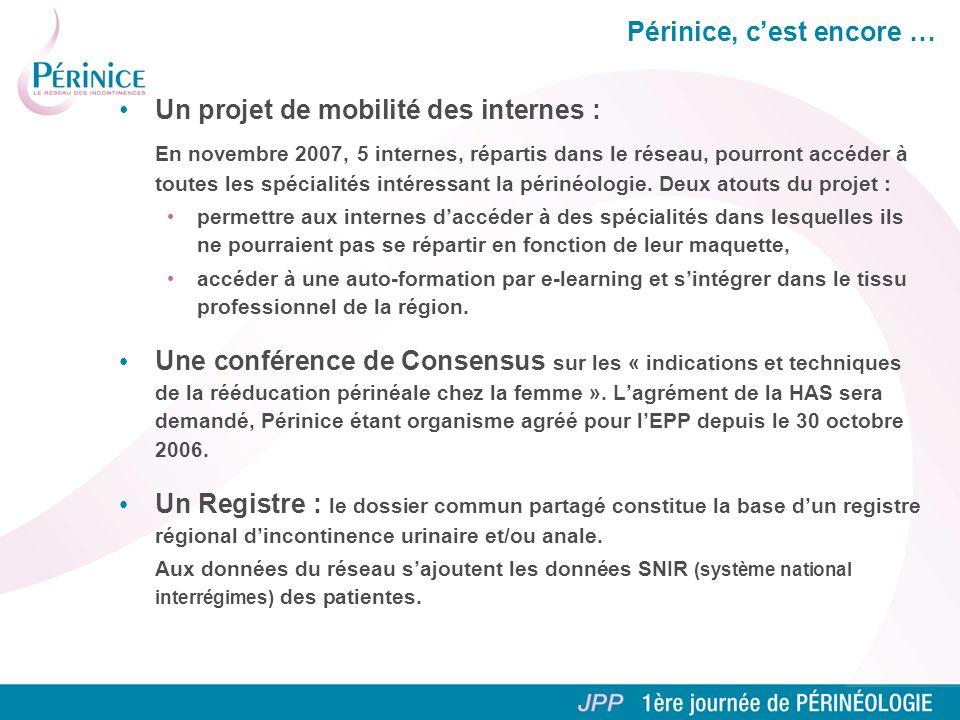 Périnice, cest encore … Un projet de mobilité des internes : En novembre 2007, 5 internes, répartis dans le réseau, pourront accéder à toutes les spécialités intéressant la périnéologie.