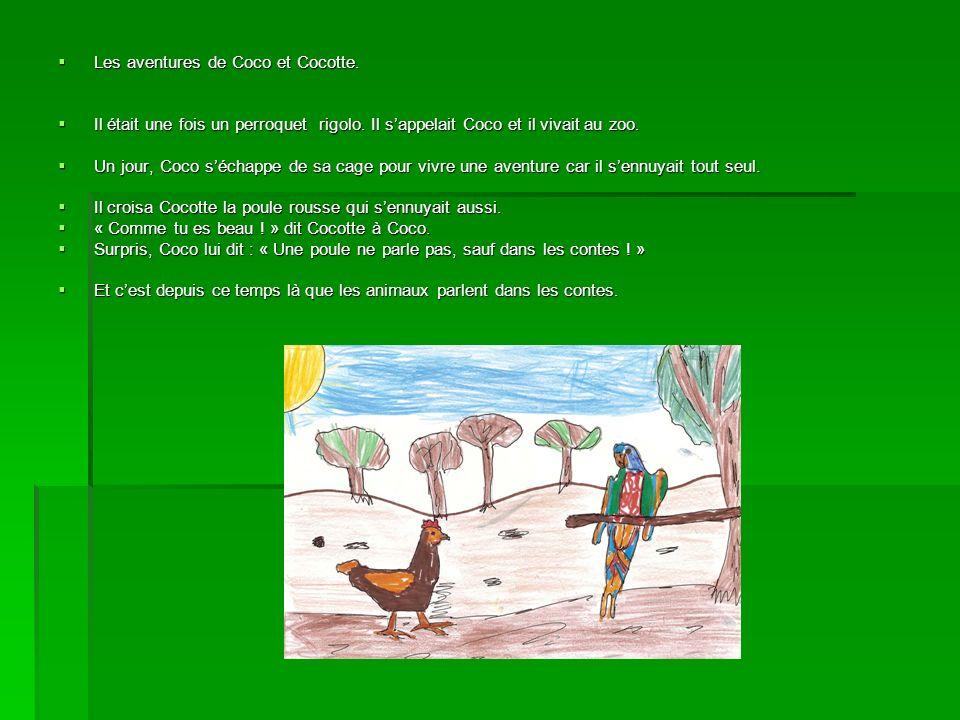 Les aventures de Coco et Cocotte. Les aventures de Coco et Cocotte. Il était une fois un perroquet rigolo. Il sappelait Coco et il vivait au zoo. Il é