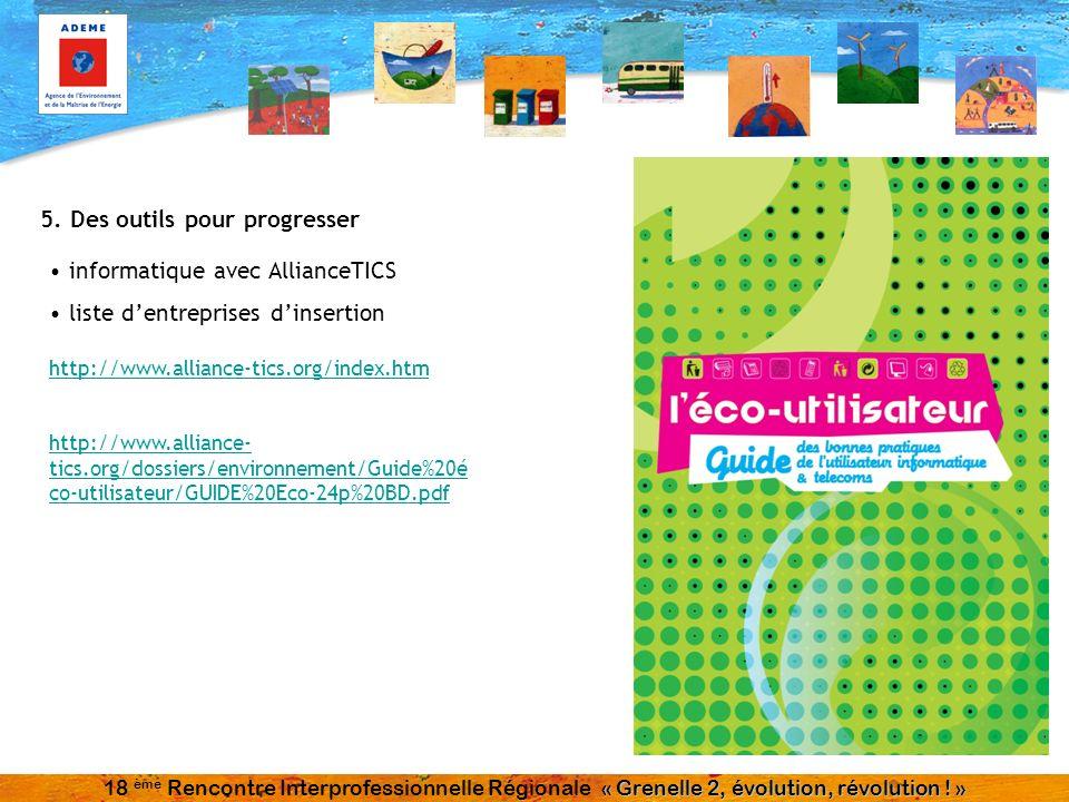 5. Des outils pour progresser informatique avec AllianceTICS liste dentreprises dinsertion http://www.alliance-tics.org/index.htm http://www.alliance-