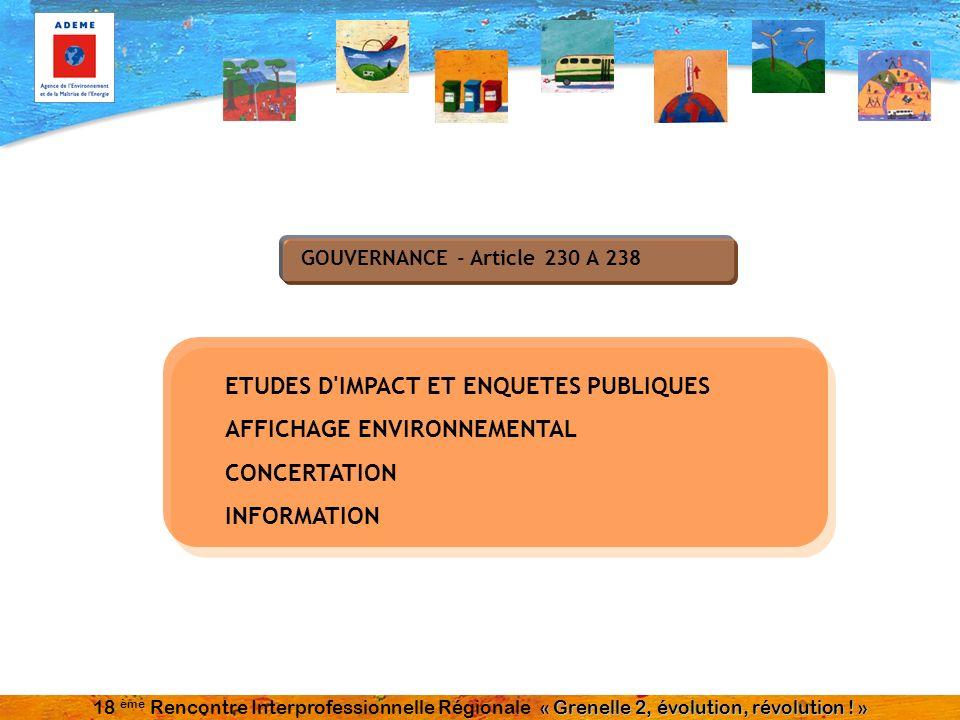 GOUVERNANCE - Article 230 A 238 ETUDES D IMPACT ET ENQUETES PUBLIQUES AFFICHAGE ENVIRONNEMENTAL CONCERTATION INFORMATION « Grenelle 2, évolution, révolution .