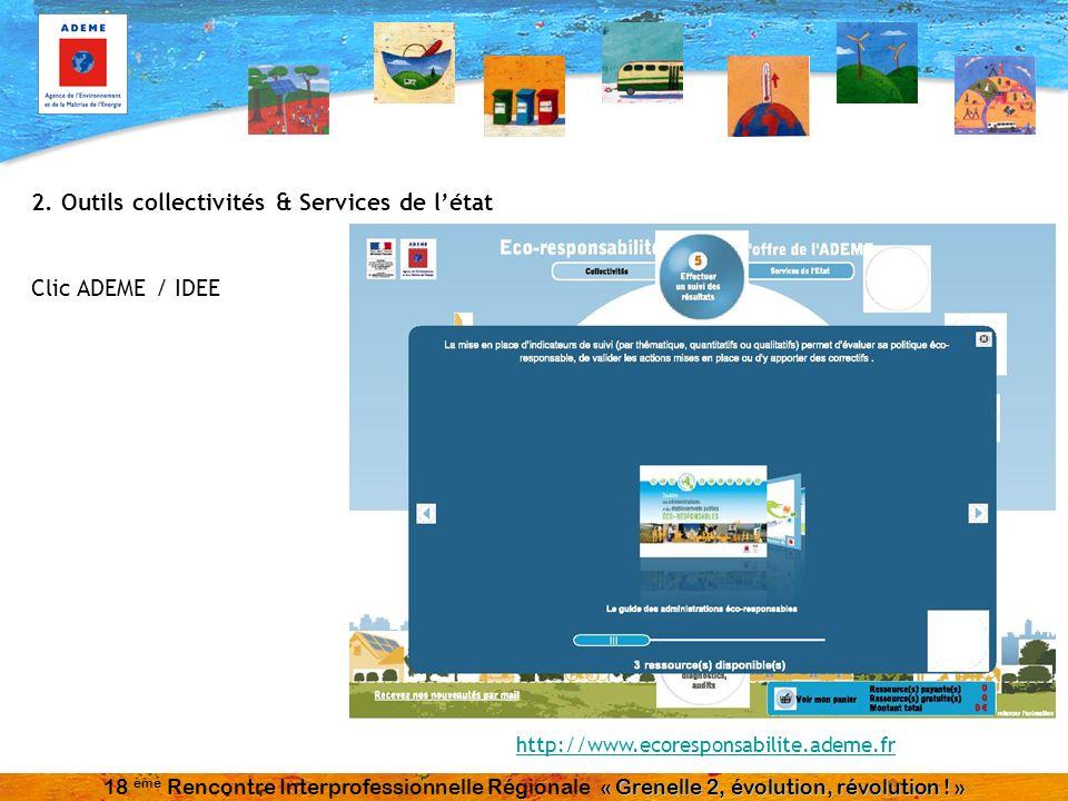 2. Outils collectivités & Services de létat Clic ADEME / IDEE http://www.ecoresponsabilite.ademe.fr « Grenelle 2, évolution, révolution ! » 18 ème Ren