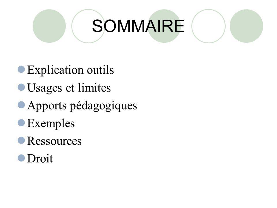 SOMMAIRE Explication outils Usages et limites Apports pédagogiques Exemples Ressources Droit