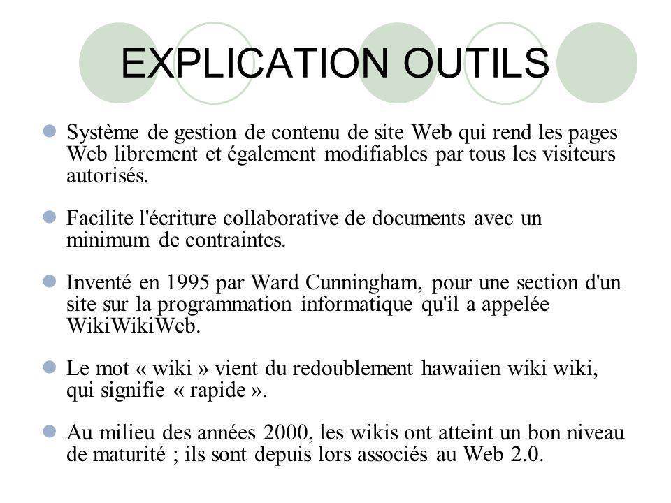 EXPLICATION OUTILS Système de gestion de contenu de site Web qui rend les pages Web librement et également modifiables par tous les visiteurs autorisés.