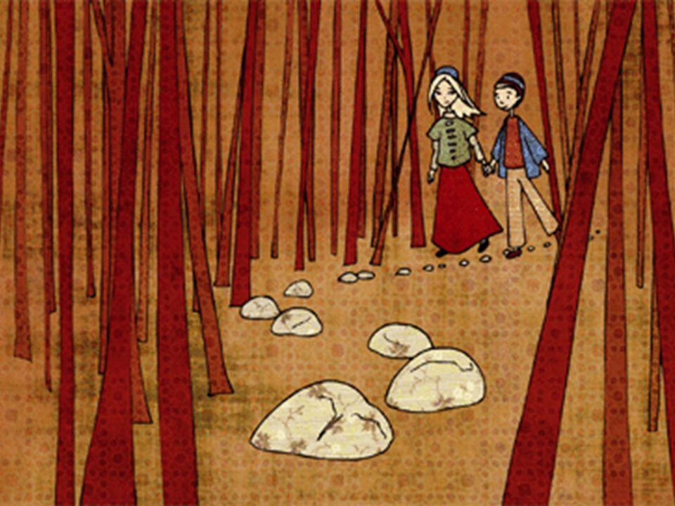 Quand la pleine lune brilla dans le ciel, il prit sa sœur par la main et suivit les petits cailloux blancs.