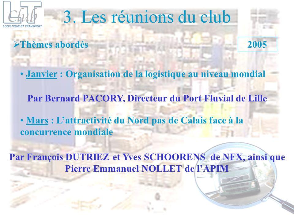 3. Les réunions du club Thèmes abordés Janvier : Organisation de la logistique au niveau mondial 2005 Mars : Lattractivité du Nord pas de Calais face