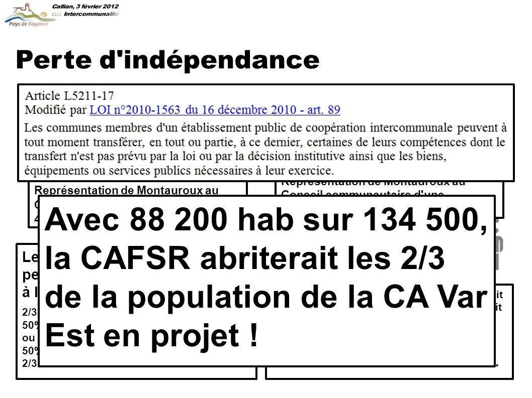C onclusions Pour les habitants du Pays de Fayence, il n y aurait que des inconvénients à l intégration de la CCPF à la CA de Fréjus-Saint-Raphaël.