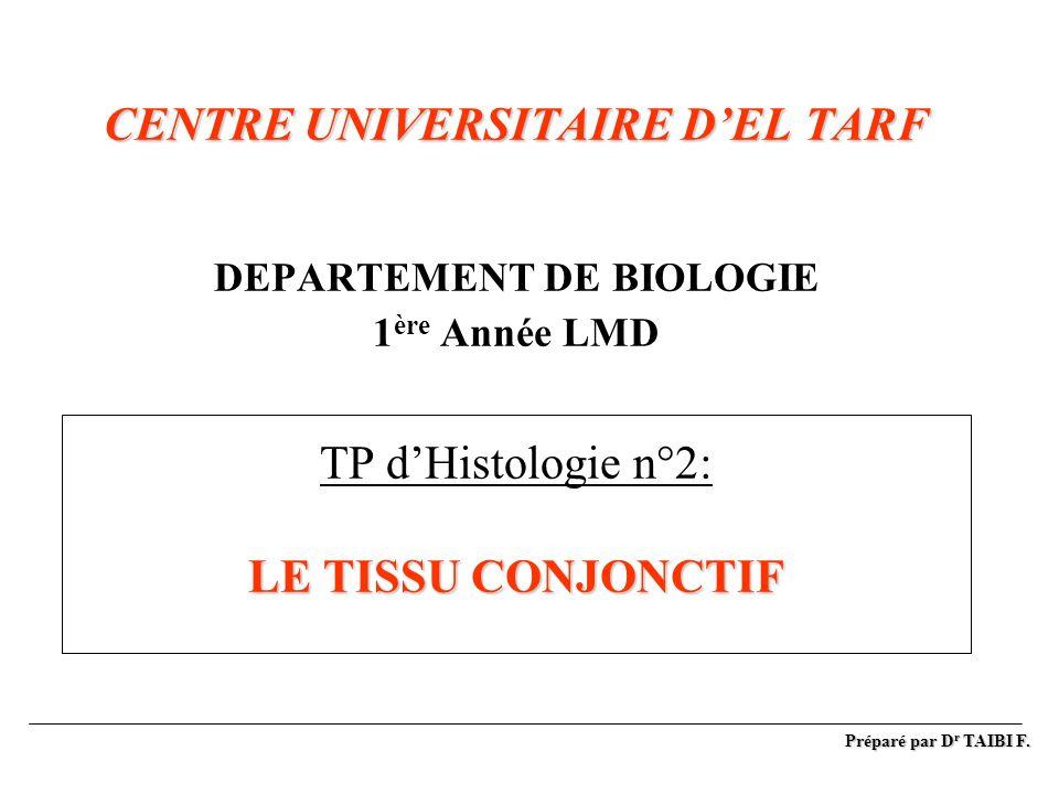 CENTRE UNIVERSITAIRE DEL TARF LE TISSU CONJONCTIF CENTRE UNIVERSITAIRE DEL TARF DEPARTEMENT DE BIOLOGIE 1 ère Année LMD TP dHistologie n°2: LE TISSU C