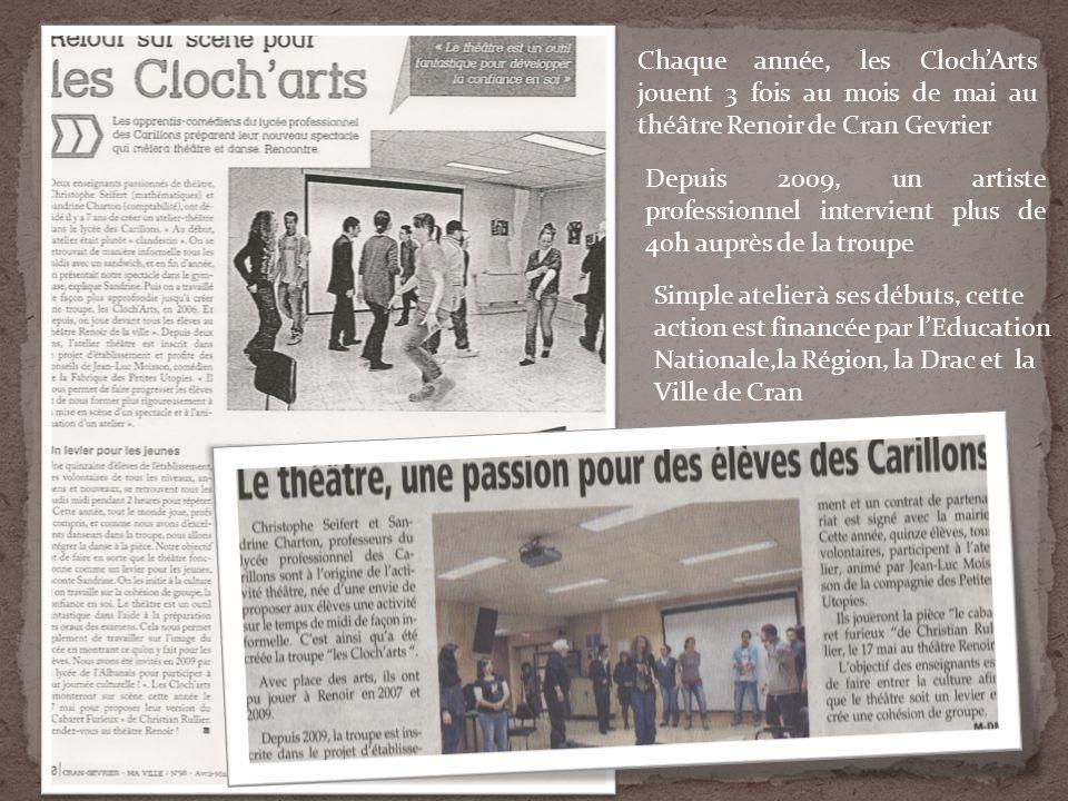 Chaque année, les ClochArts jouent 3 fois au mois de mai au théâtre Renoir de Cran Gevrier Depuis 2009, un artiste professionnel intervient plus de 40h auprès de la troupe Simple atelier à ses débuts, cette action est financée par lEducation Nationale,la Région, la Drac et la Ville de Cran