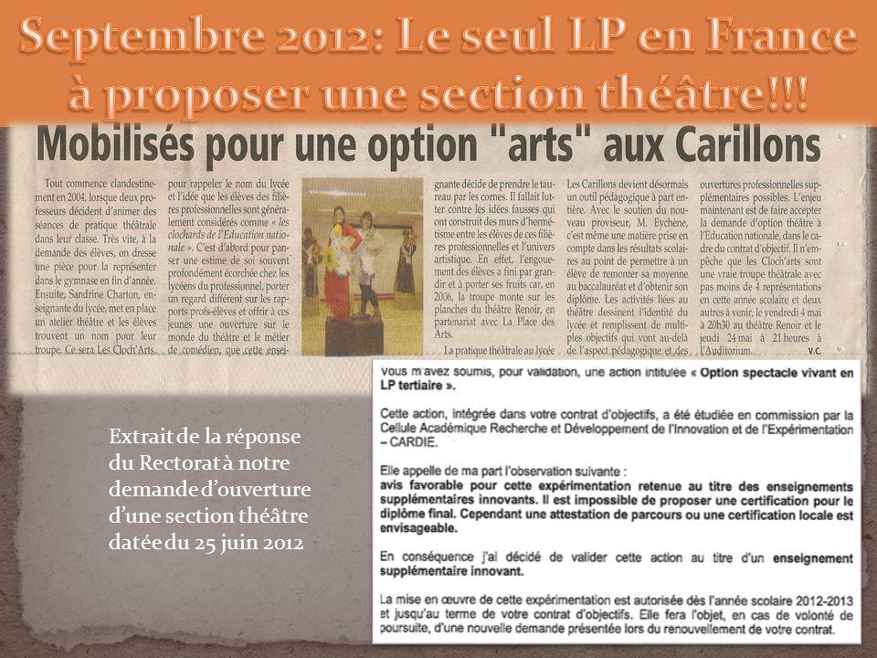 Extrait de la réponse du Rectorat à notre demande douverture dune section théâtre datée du 25 juin 2012