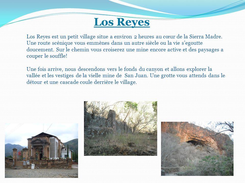 Los Reyes Los Reyes est un petit village situe a environ 2 heures au cœur de la Sierra Madre. Une route scénique vous emmènes dans un autre siècle ou