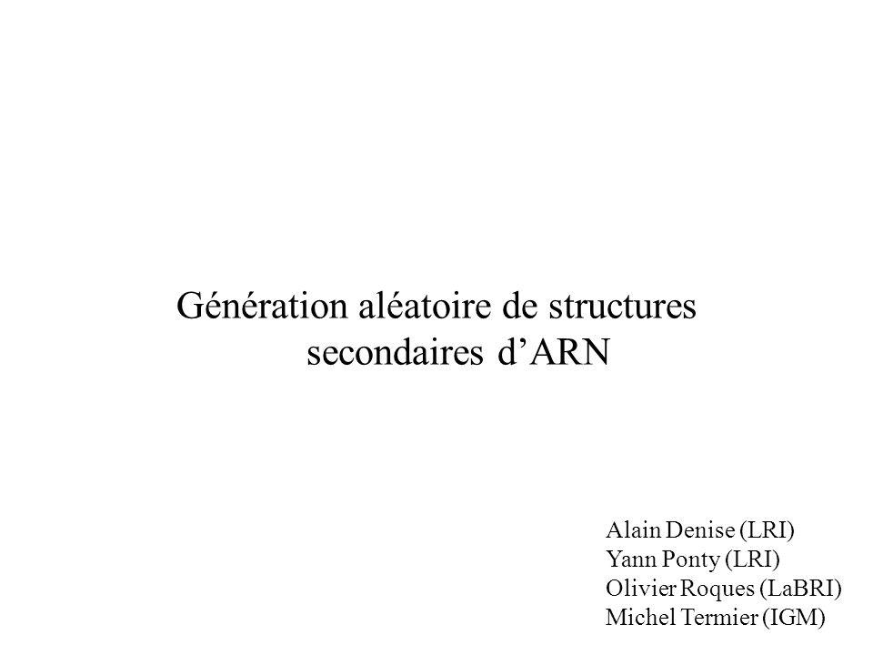 Génération aléatoire de structures secondaires dARN Alain Denise (LRI) Yann Ponty (LRI) Olivier Roques (LaBRI) Michel Termier (IGM)
