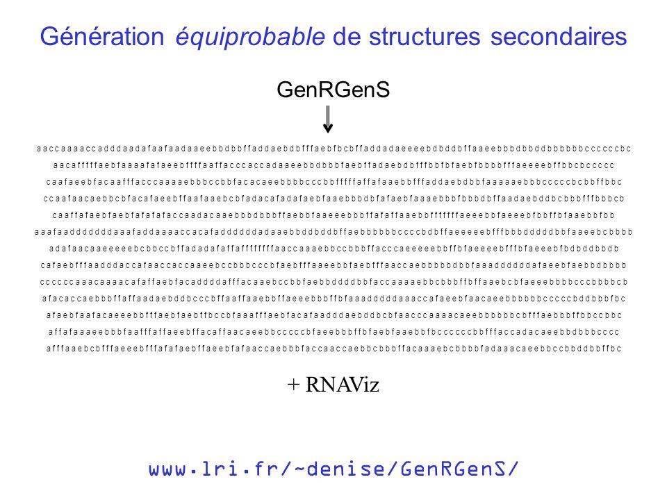 www.lri.fr/~denise/GenRGenS/ Génération équiprobable de structures secondaires a a c c a a a a c c a d d d a a d a f a a f a a d a a e e b b d b b f f