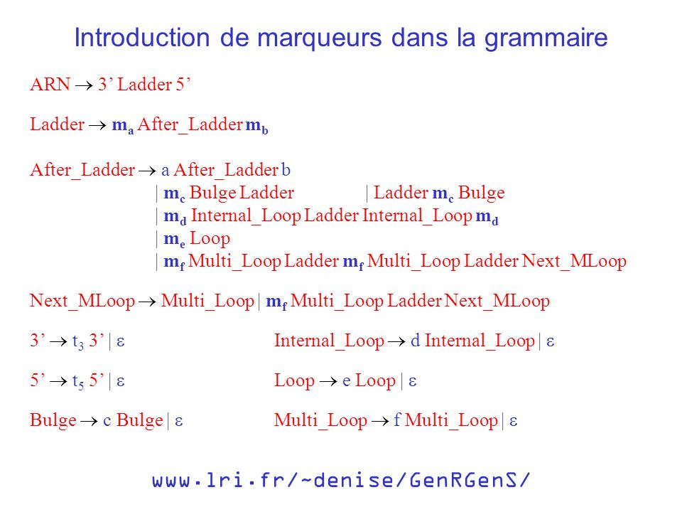 ARN 3 Ladder 5 Introduction de marqueurs dans la grammaire Ladder m a After_Ladder m b After_Ladder a After_Ladder b | m c Bulge Ladder | m d Internal_Loop Ladder Internal_Loop m d | m e Loop | m f Multi_Loop Ladder m f Multi_Loop Ladder Next_MLoop Next_MLoop Multi_Loop | m f Multi_Loop Ladder Next_MLoop | Ladder m c Bulge 3 t 3 3 | 5 t 5 5 | Bulge c Bulge | Loop e Loop | Internal_Loop d Internal_Loop | Multi_Loop f Multi_Loop | www.lri.fr/~denise/GenRGenS/