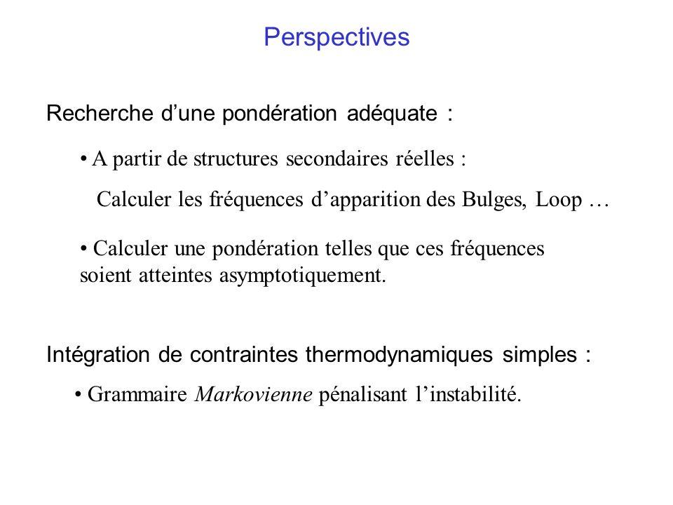 Perspectives A partir de structures secondaires réelles : Calculer les fréquences dapparition des Bulges, Loop … Calculer une pondération telles que c