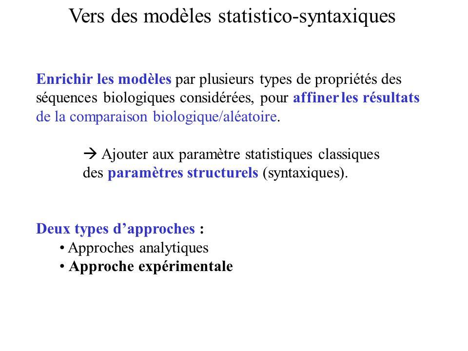 Vers des modèles statistico-syntaxiques Enrichir les modèles par plusieurs types de propriétés des séquences biologiques considérées, pour affiner les
