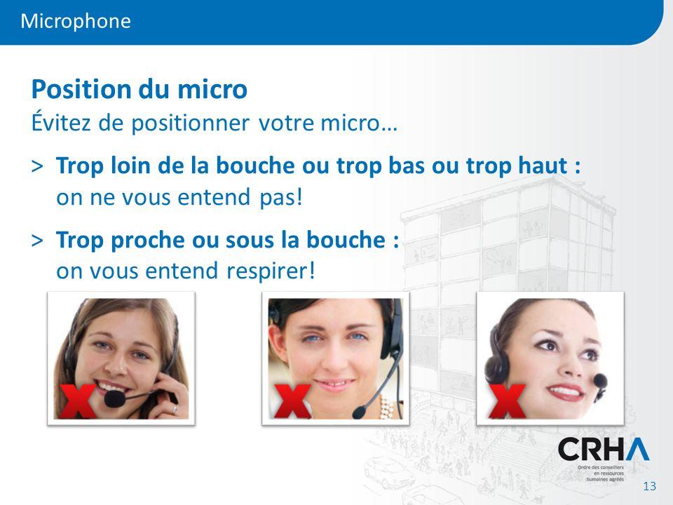 Microphone 13 Position du micro Évitez de positionner votre micro… >Trop loin de la bouche ou trop bas ou trop haut : on ne vous entend pas! >Trop pro