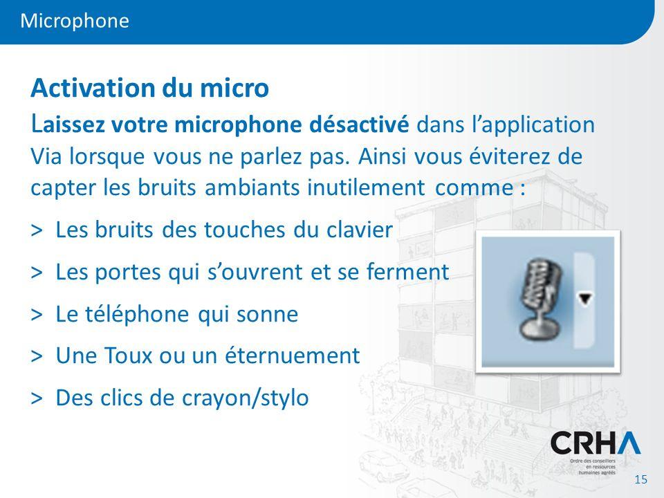 Microphone 15 Activation du micro L aissez votre microphone désactivé dans lapplication Via lorsque vous ne parlez pas. Ainsi vous éviterez de capter