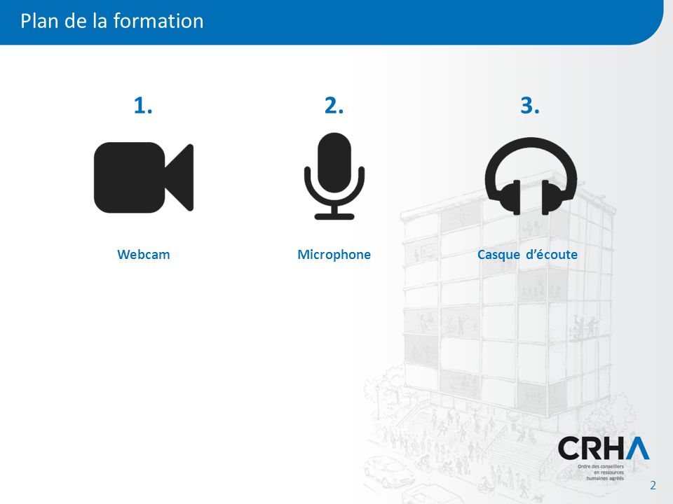 Plan de la formation 2 Webcam 1. Microphone 2. Casque découte 3.