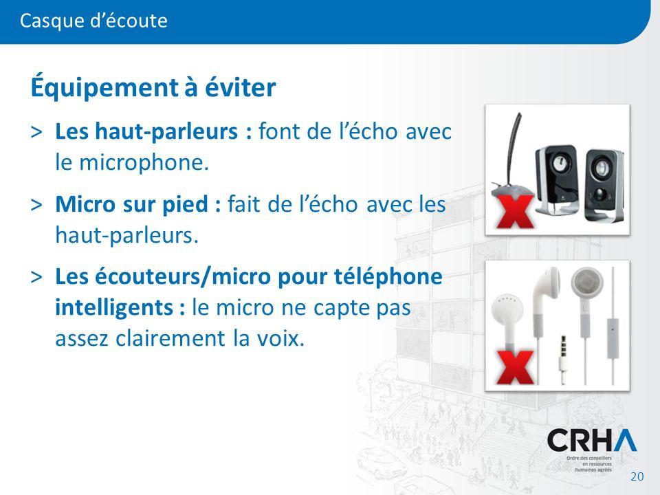 Casque découte 20 Équipement à éviter >Les haut-parleurs : font de lécho avec le microphone. >Micro sur pied : fait de lécho avec les haut-parleurs. >