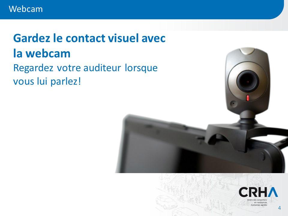 Webcam 4 Gardez le contact visuel avec la webcam Regardez votre auditeur lorsque vous lui parlez!