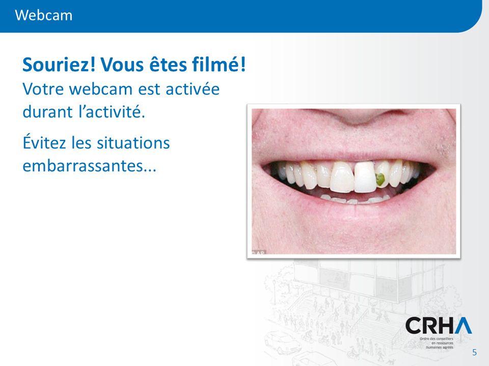 Webcam 5 Souriez! Vous êtes filmé! Votre webcam est activée durant lactivité. Évitez les situations embarrassantes...