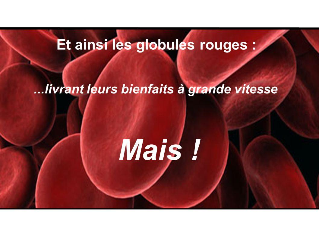 Et ainsi les globules rouges :...livrant leurs bienfaits à grande vitesse Mais !
