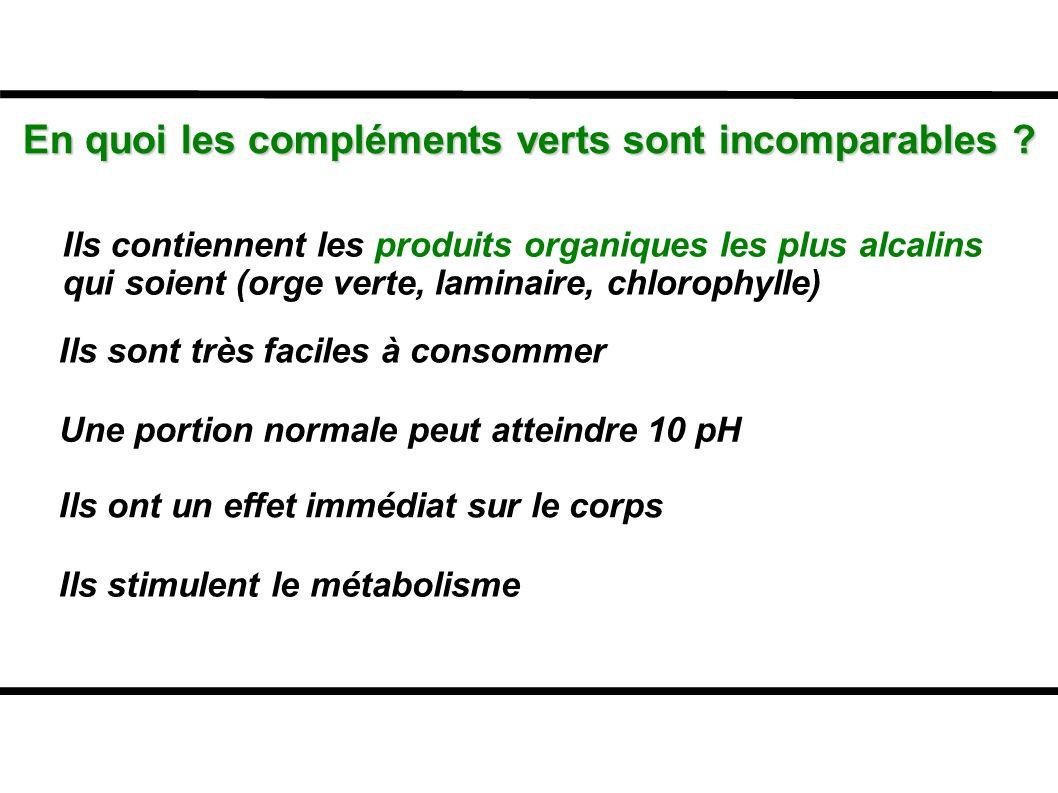 En quoi les compléments verts sont incomparables ? Ils contiennent les produits organiques les plus alcalins qui soient (orge verte, laminaire, chloro