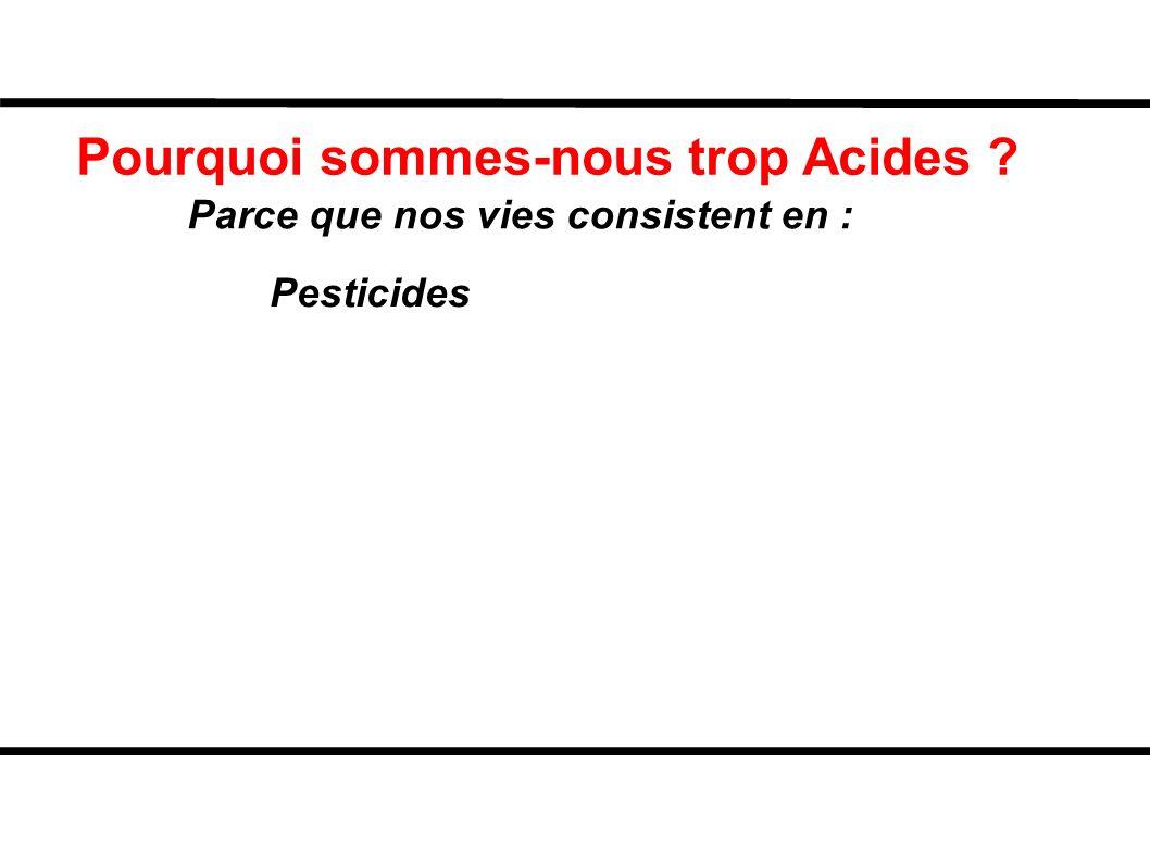 Pourquoi sommes-nous trop Acides ? Parce que nos vies consistent en : Pesticides