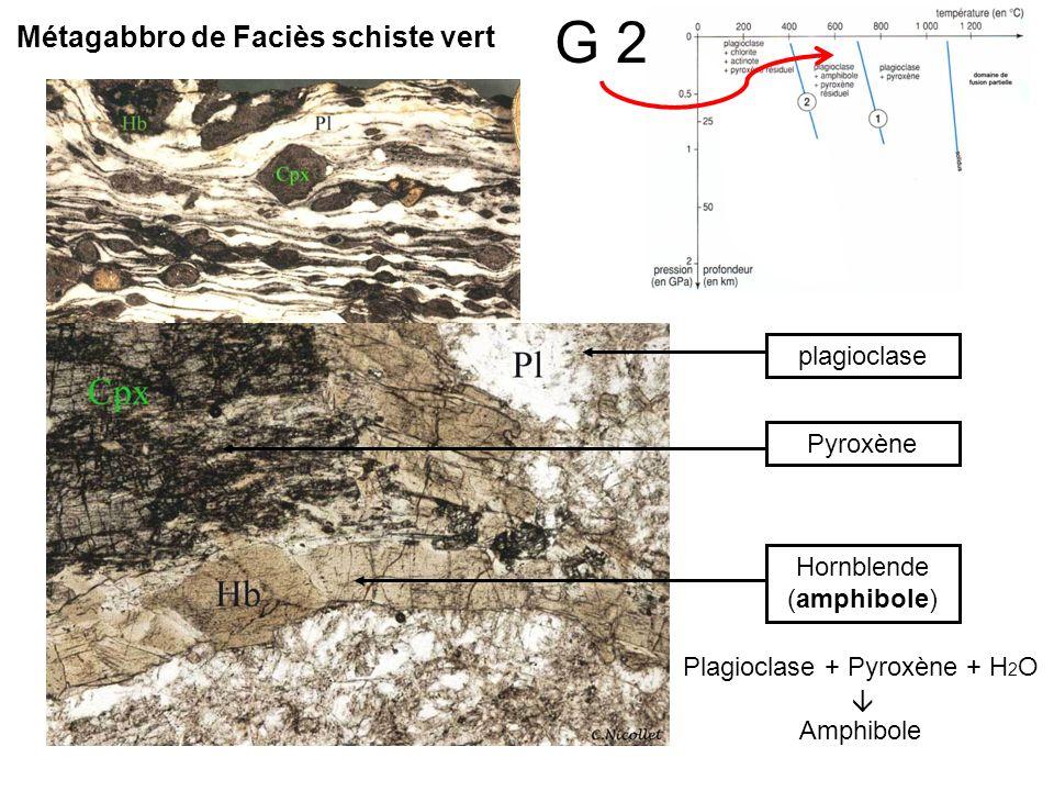 G 2 plagioclasePyroxèneHornblende (amphibole) Plagioclase + Pyroxène + H 2 O Amphibole Métagabbro de Faciès schiste vert