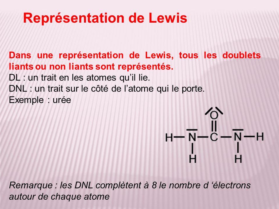 Représentation de Lewis Dans une représentation de Lewis, tous les doublets liants ou non liants sont représentés. DL : un trait en les atomes quil li