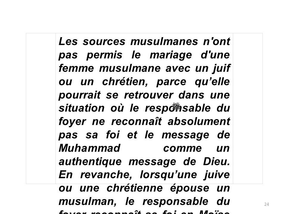 24 Les sources musulmanes n'ont pas permis le mariage d'une femme musulmane avec un juif ou un chrétien, parce quelle pourrait se retrouver dans une s