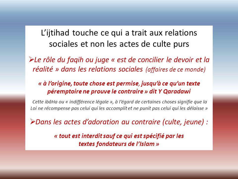 Lijtihad touche ce qui a trait aux relations sociales et non les actes de culte purs Le rôle du faqih ou juge « est de concilier le devoir et la réali