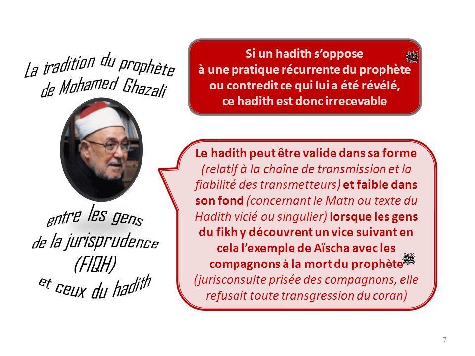 7 Le hadith peut être valide dans sa forme (relatif à la chaîne de transmission et la fiabilité des transmetteurs) et faible dans son fond (concernant
