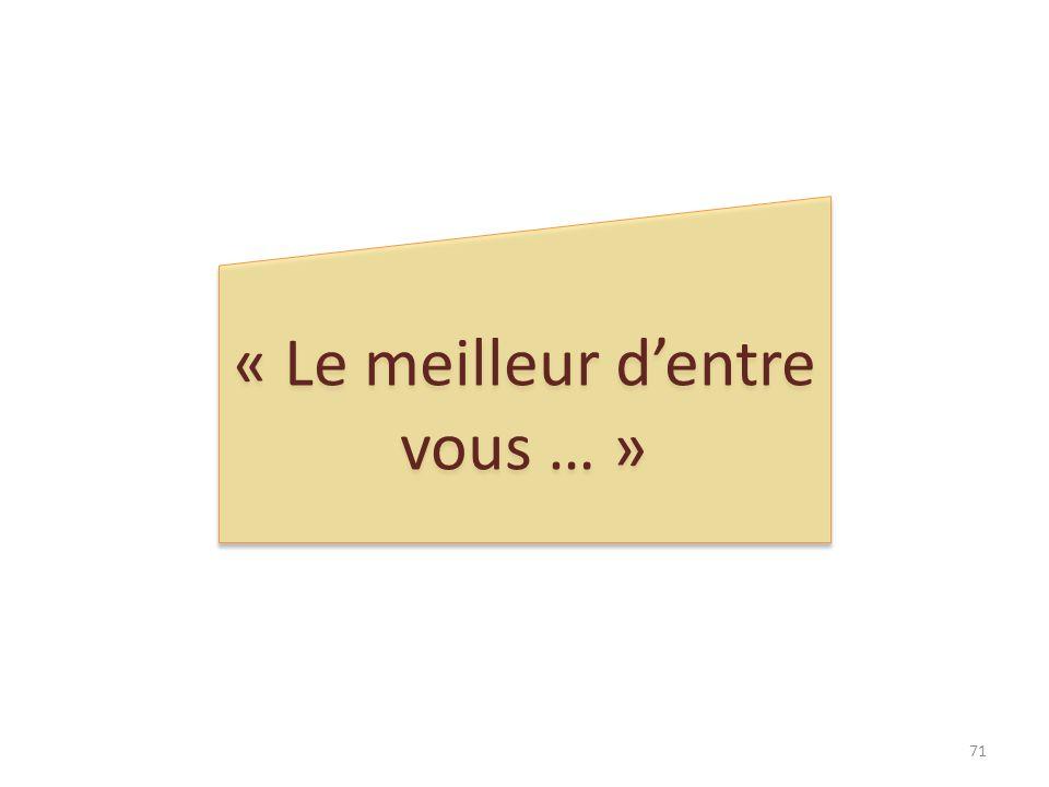 « Le meilleur dentre vous … » 71