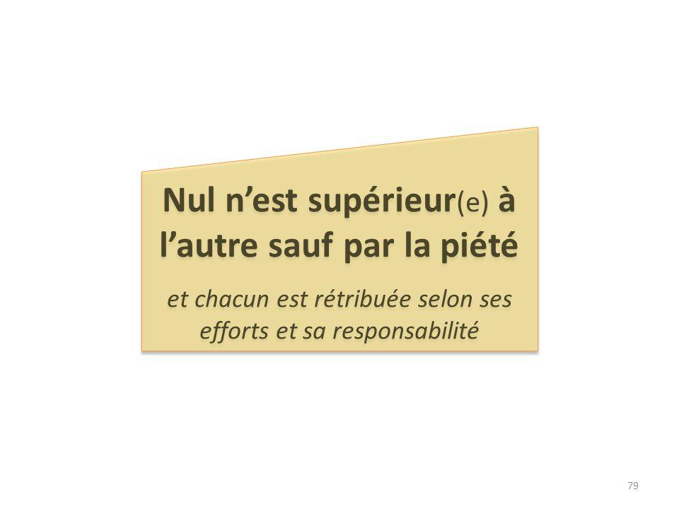 Nul nest supérieur (e) à lautre sauf par la piété et chacun est rétribuée selon ses efforts et sa responsabilité Nul nest supérieur (e) à lautre sauf