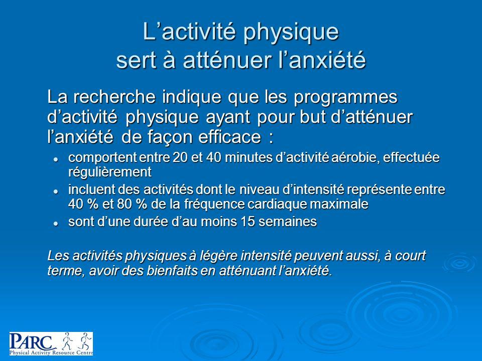 La recherche indique que les programmes dactivité physique ayant pour but datténuer lanxiété de façon efficace : comportent entre 20 et 40 minutes dac