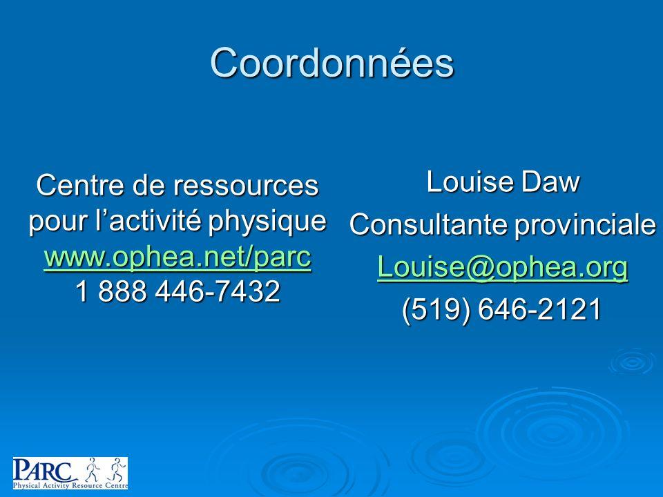 Coordonnées Centre de ressources pour lactivité physique www.ophea.net/parc 1 888 446-7432 Louise Daw Consultante provinciale Louise@ophea.org (519) 6