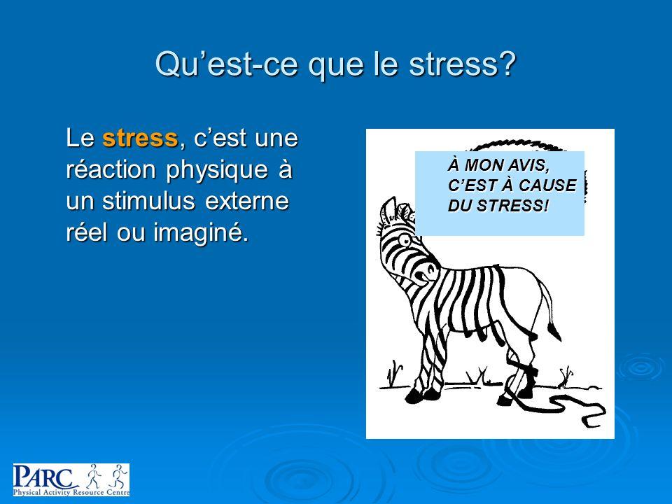 Quest-ce que le stress? Le stress, cest une réaction physique à un stimulus externe réel ou imaginé. À MON AVIS, CEST À CAUSE DU STRESS!