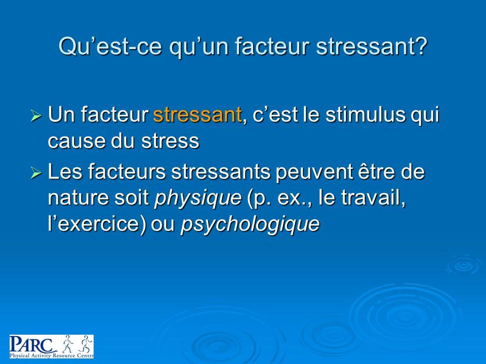 Quest-ce quun facteur stressant? Un facteur stressant, cest le stimulus qui cause du stress Un facteur stressant, cest le stimulus qui cause du stress