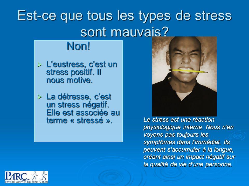 Est-ce que tous les types de stress sont mauvais? Non! Leustress, cest un stress positif. Il nous motive. Leustress, cest un stress positif. Il nous m