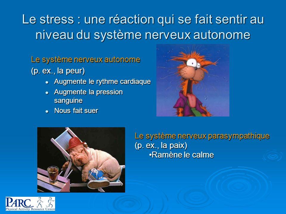 Le stress : une réaction qui se fait sentir au niveau du système nerveux autonome Le système nerveux autonome (p. ex., la peur) Augmente le rythme car