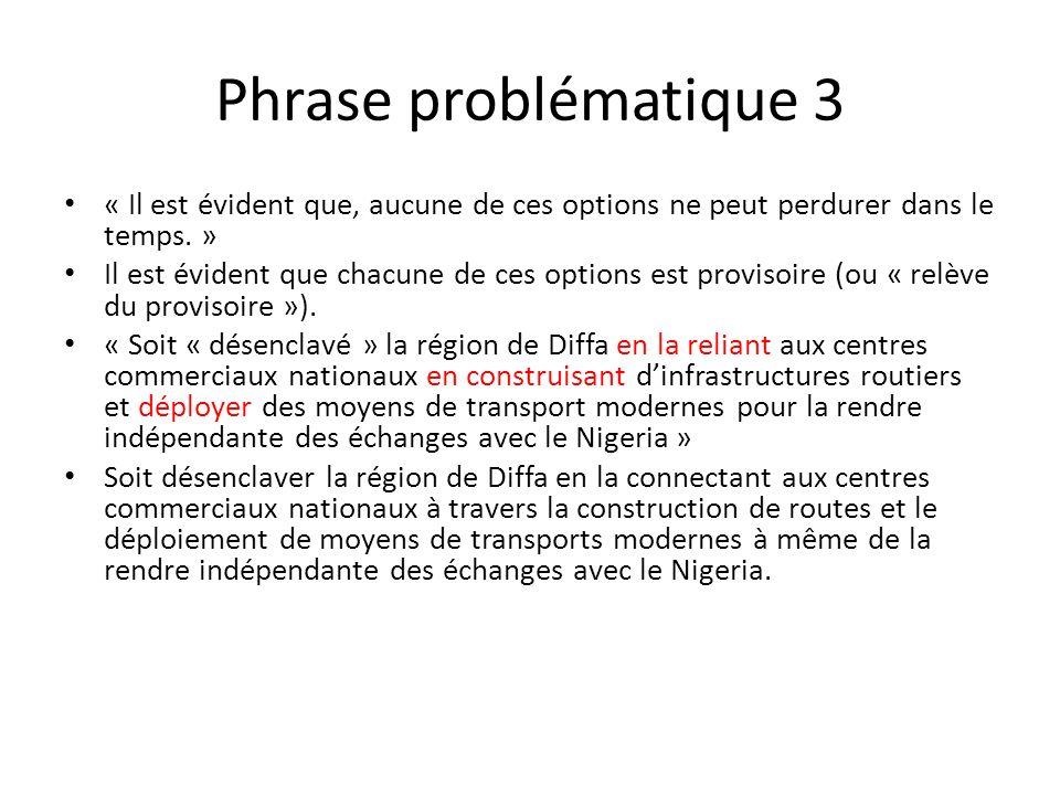 Phrase problématique 3 « Il est évident que, aucune de ces options ne peut perdurer dans le temps.