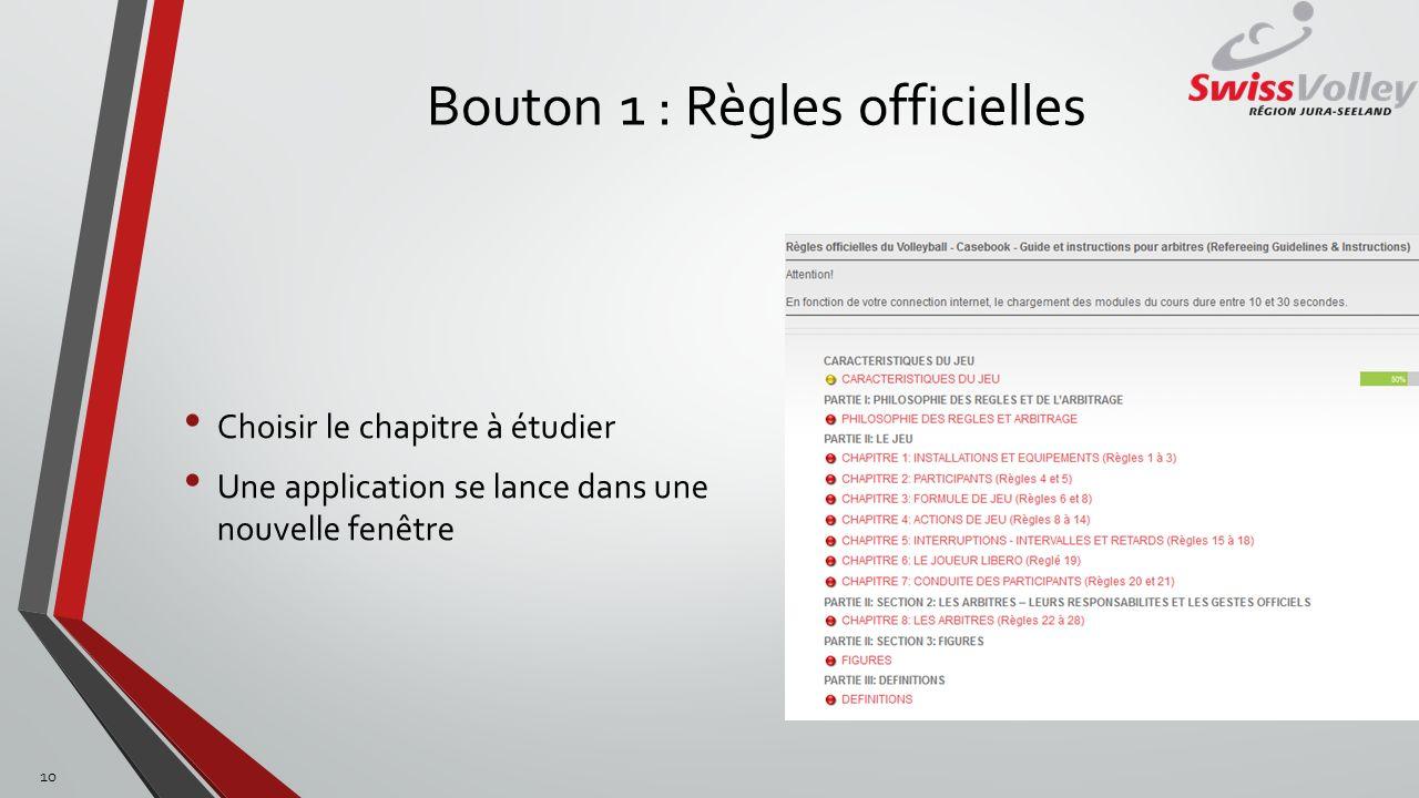 Bouton 1 : Règles officielles Choisir le chapitre à étudier Une application se lance dans une nouvelle fenêtre 10