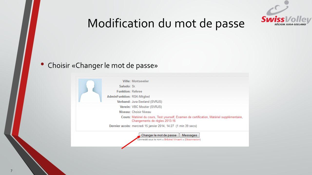 Modification du mot de passe Insérez le mot de passe actuel Insérez le nouveau mot de passe et confirmez-le Pressez sur «Enregistrer» 8