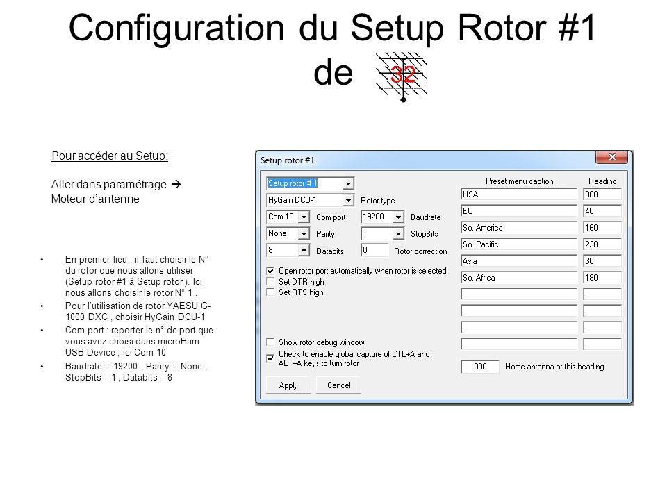 Configuration du Setup Rotor #1 de En premier lieu, il faut choisir le N° du rotor que nous allons utiliser (Setup rotor #1 à Setup rotor ). Ici nous