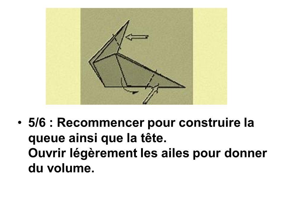 5/6 : Recommencer pour construire la queue ainsi que la tête. Ouvrir légèrement les ailes pour donner du volume.